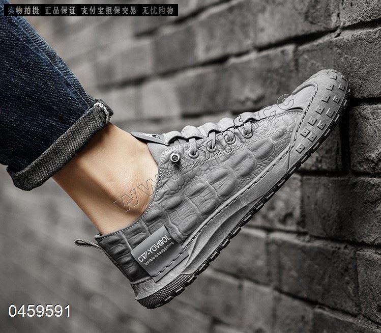 夏季新款冰丝雨伞布男鞋鳄鱼纹透气板鞋潮流休闲潮鞋网红鞋子821